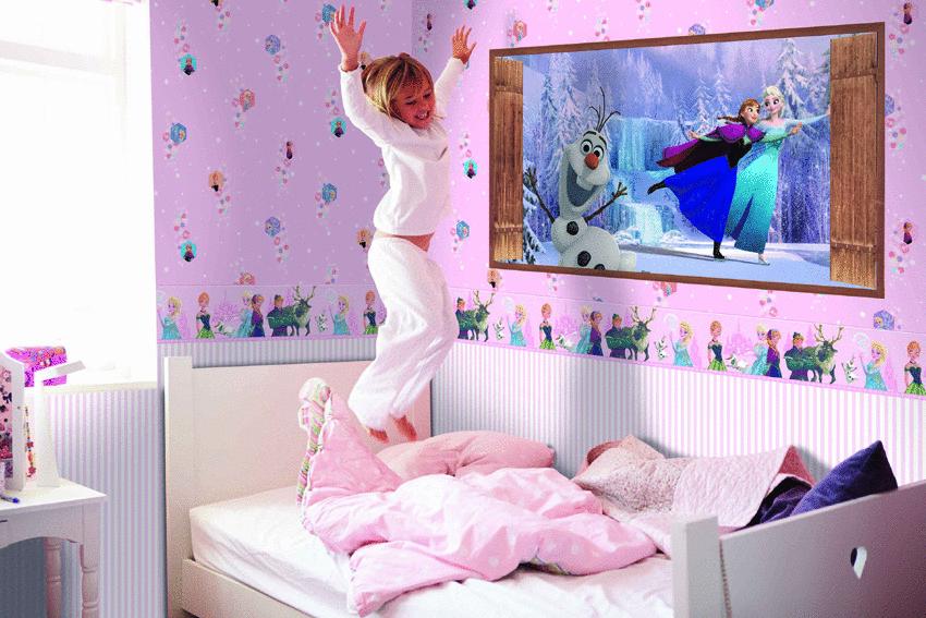 Lila színű Jégvarázs gyerek tapéta