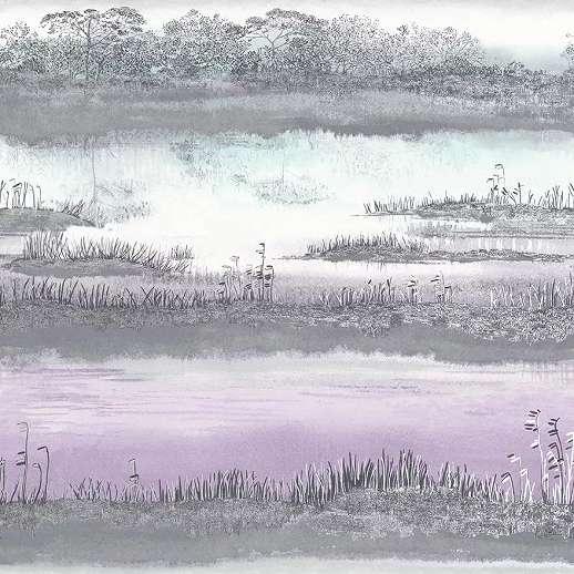 Lila türkiz akvarell hatású tájkép mintás vlies luxus tapéta