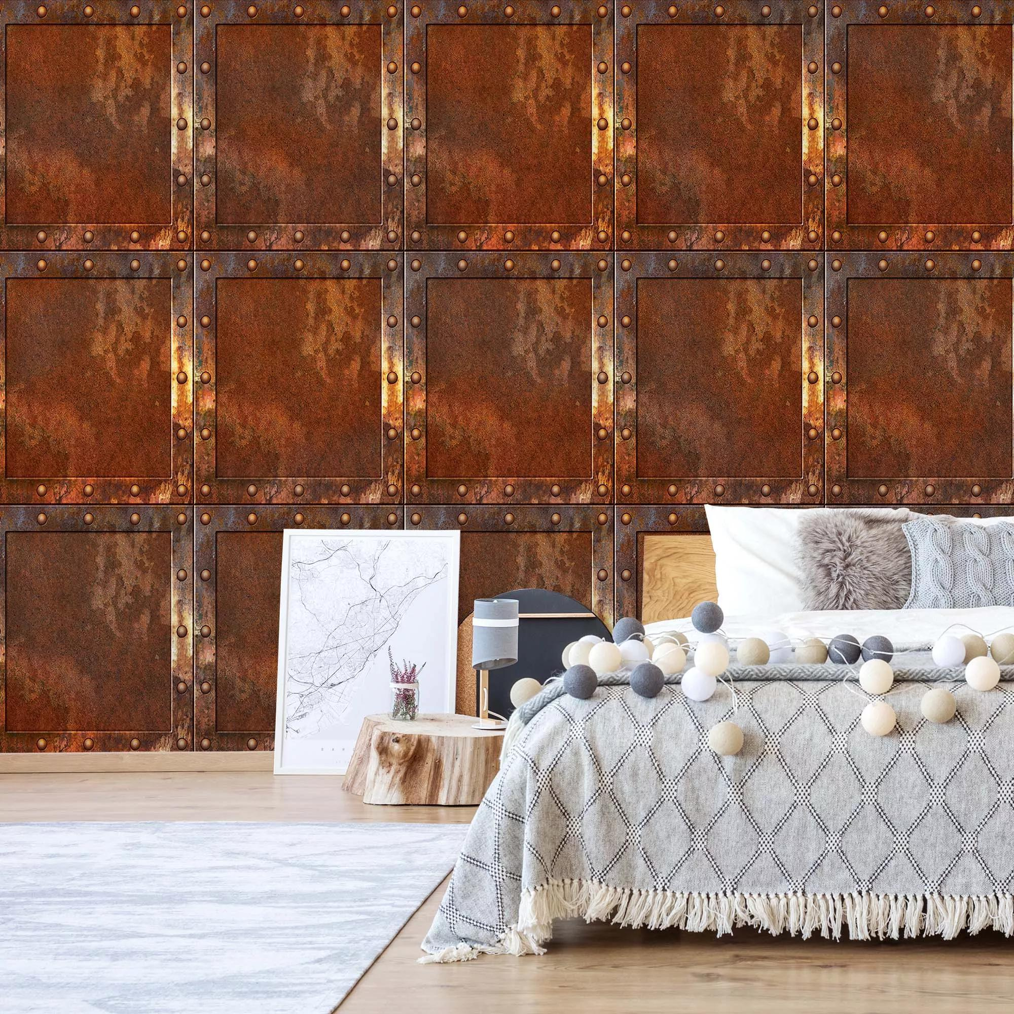 Loft hangulatú rusztikus acélfal mintás fali poszter