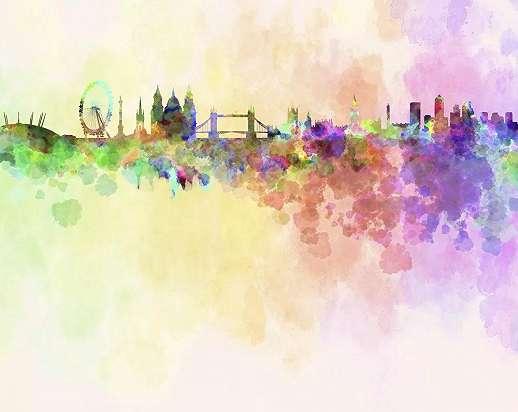 Londoni látkép akvarell hatású vlies óriás fali poszter