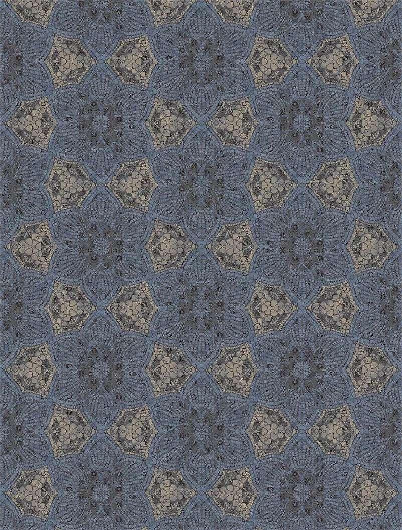 Luxus fali poszter kék színben orientális stílusú mintával