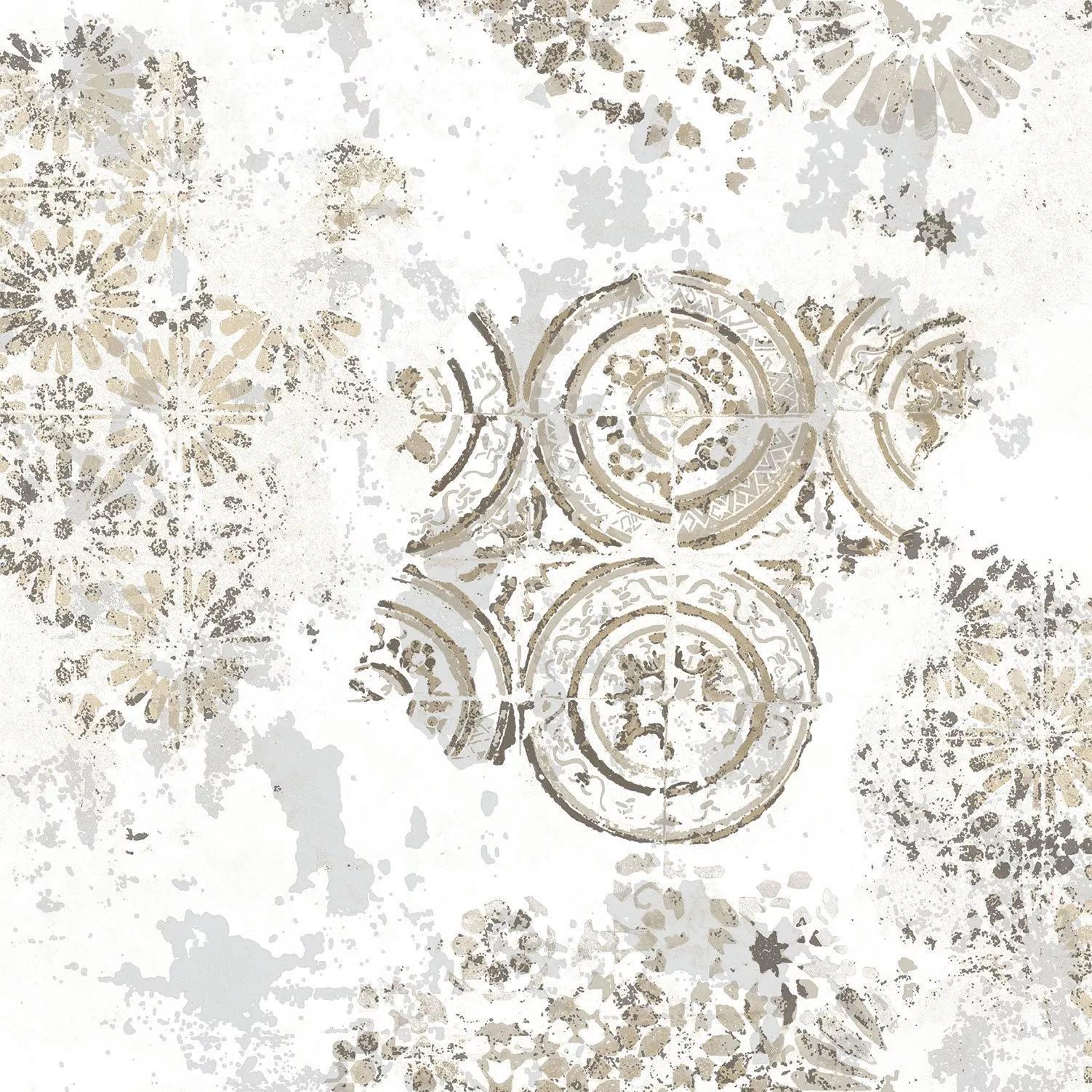 Luxus tapéta fehér alapon orintális hangulatú geometrikus mintával