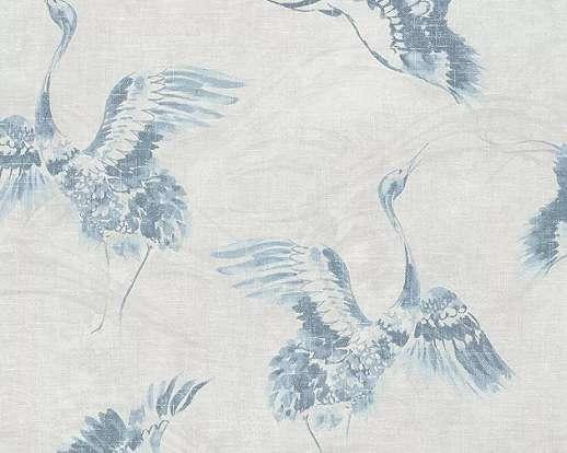 Madár mintás tapéta szürke színben, darú madár mintával
