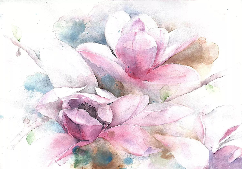 Magnólia virágmintás akvarell hatású fali poszter