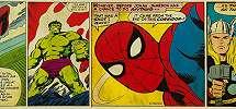 Marvel képregény mintás bordűr, pókember, Hulk és Thor szuperhősökkel
