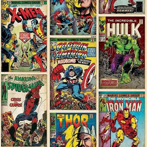 Marvel retro képregény mintás gyerekszobai tapéta