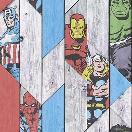 Marvel tapéta gyerekszobába, pokember, hulk, vasember mintával