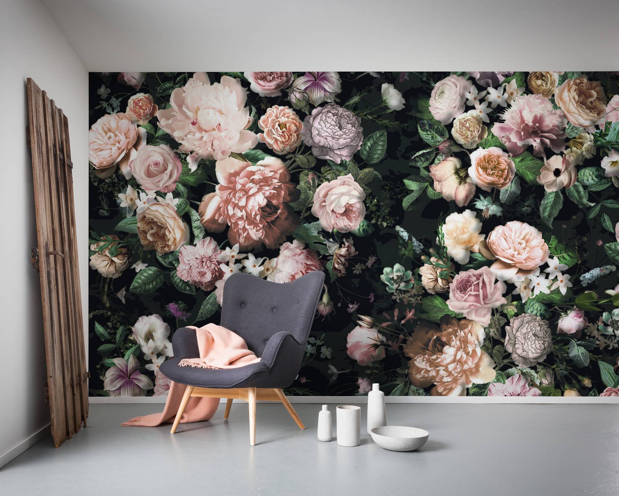 Mesébe illő romantikus virágmintás fali poszter