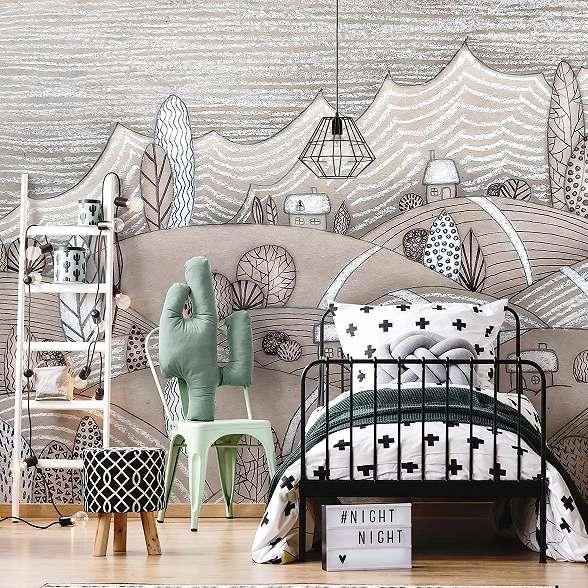 Mesevilág, rajzolt stílusú kedves gyerekszobai fali poszter
