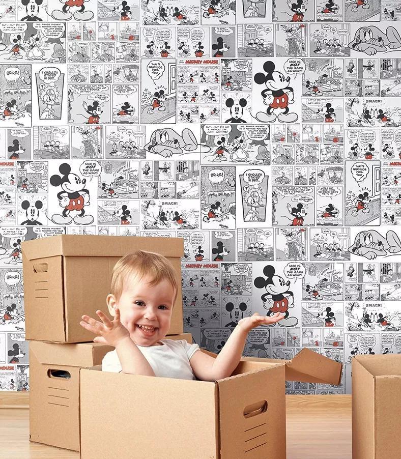 Mickey Mouse gyerektapéta fekete-fehér színben piros Mickey Mouse mintával