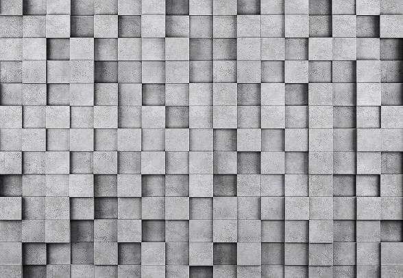 Modern 3D hatású szürke betonkocka mintás fali poszter