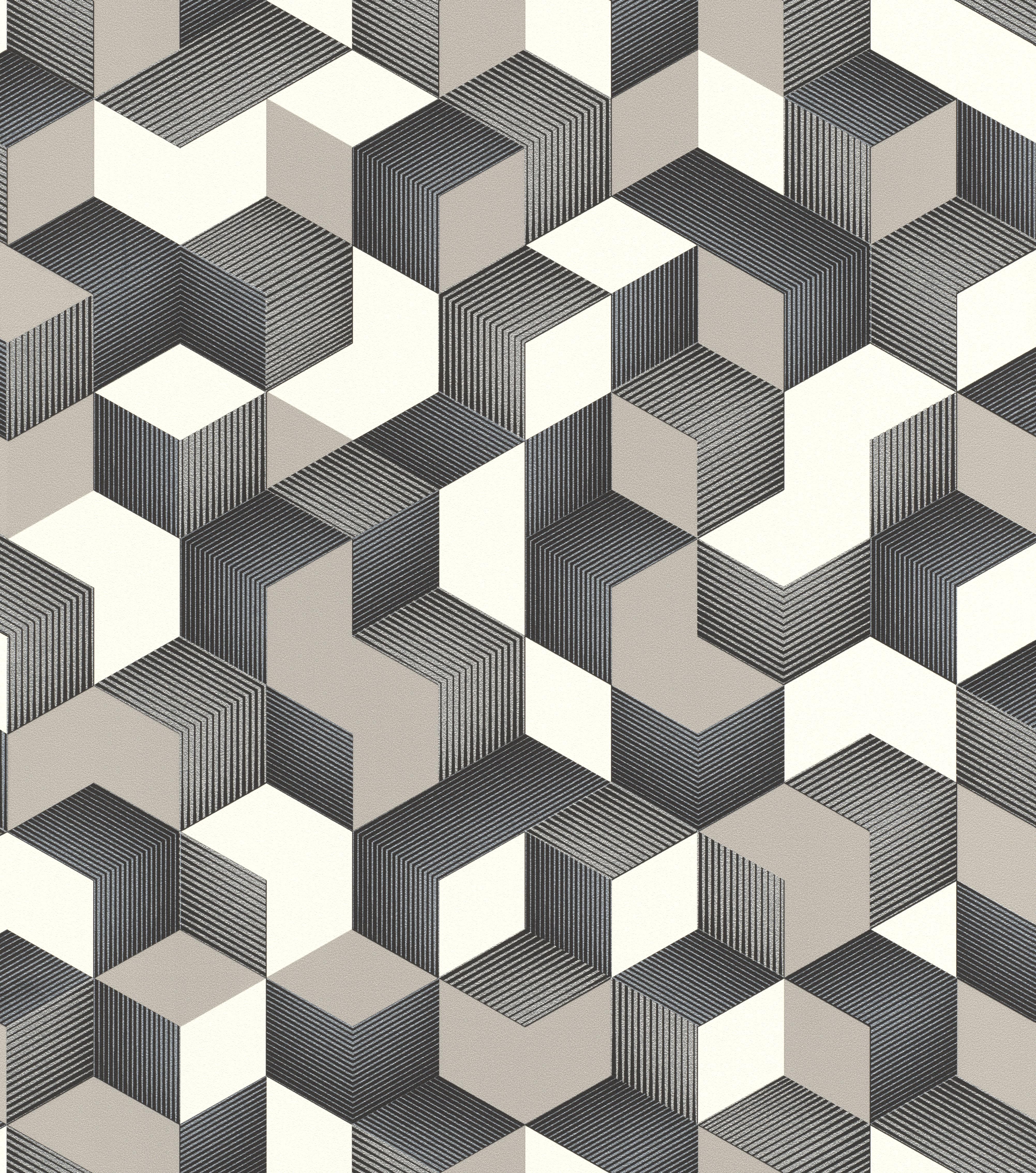 Modern 3D kocka mintás tapéta ezüst fekete színekkel