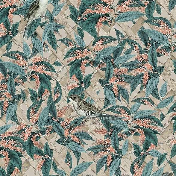 Modern botanikus levél és madár mintás vlies prémium tapéta