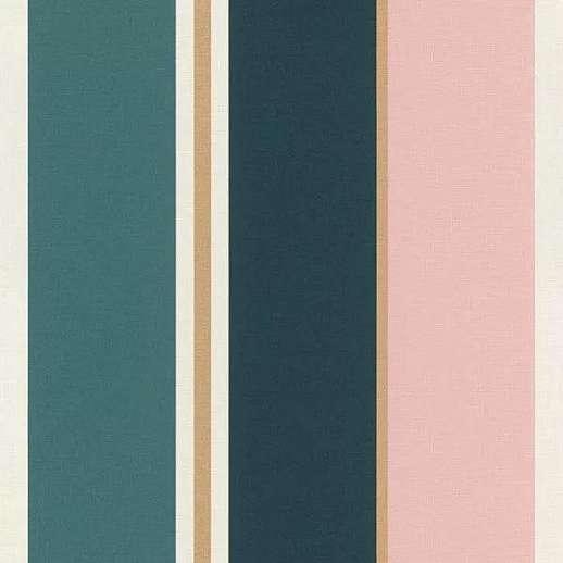 Modern csíkos mintás tapéta kék-arany-rózsaszín csíkos mintával