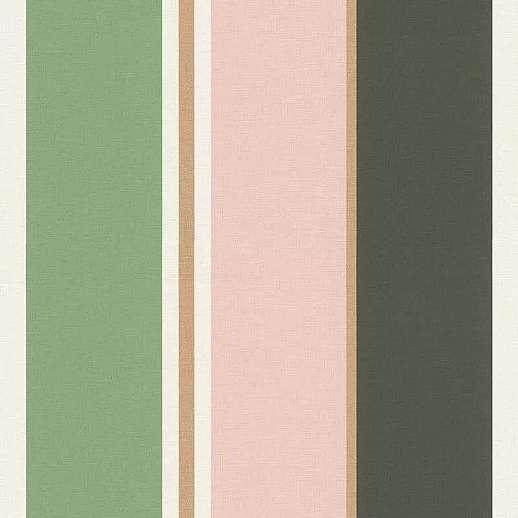 Modern csíkos mintás vlies tapéta zöld-rózsaszín csíkos mintával