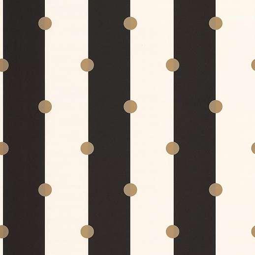 Modern csíkos pöttyös mintás tapéta arany színű pöttyös mintával