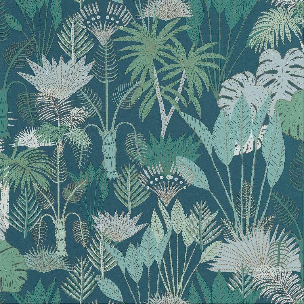 Modern design tapéta zöld színvilágban rajzolt stílusú dzsungel mintával