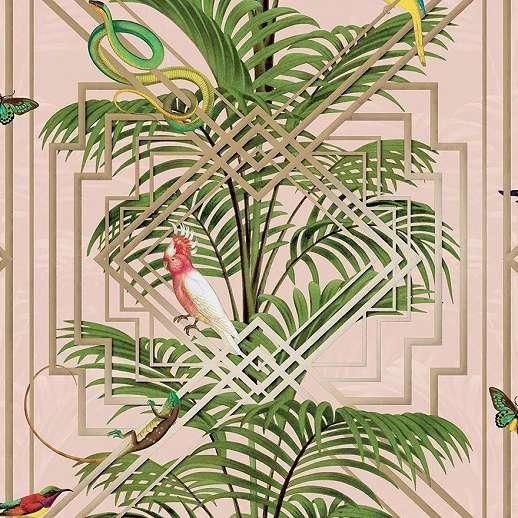 Modern dzsungel mintás vlies design tapéta metál fényű geometrikus mintával