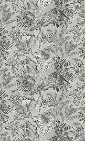 Modern fali poszter trópusi pálmalevél mintával szürke színben