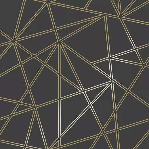 Modern fekete arany geometrikus mintás vlies dekor tapéta