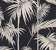 Modern fekete, bronz trópusi pálma levél mintás vlies tapéta