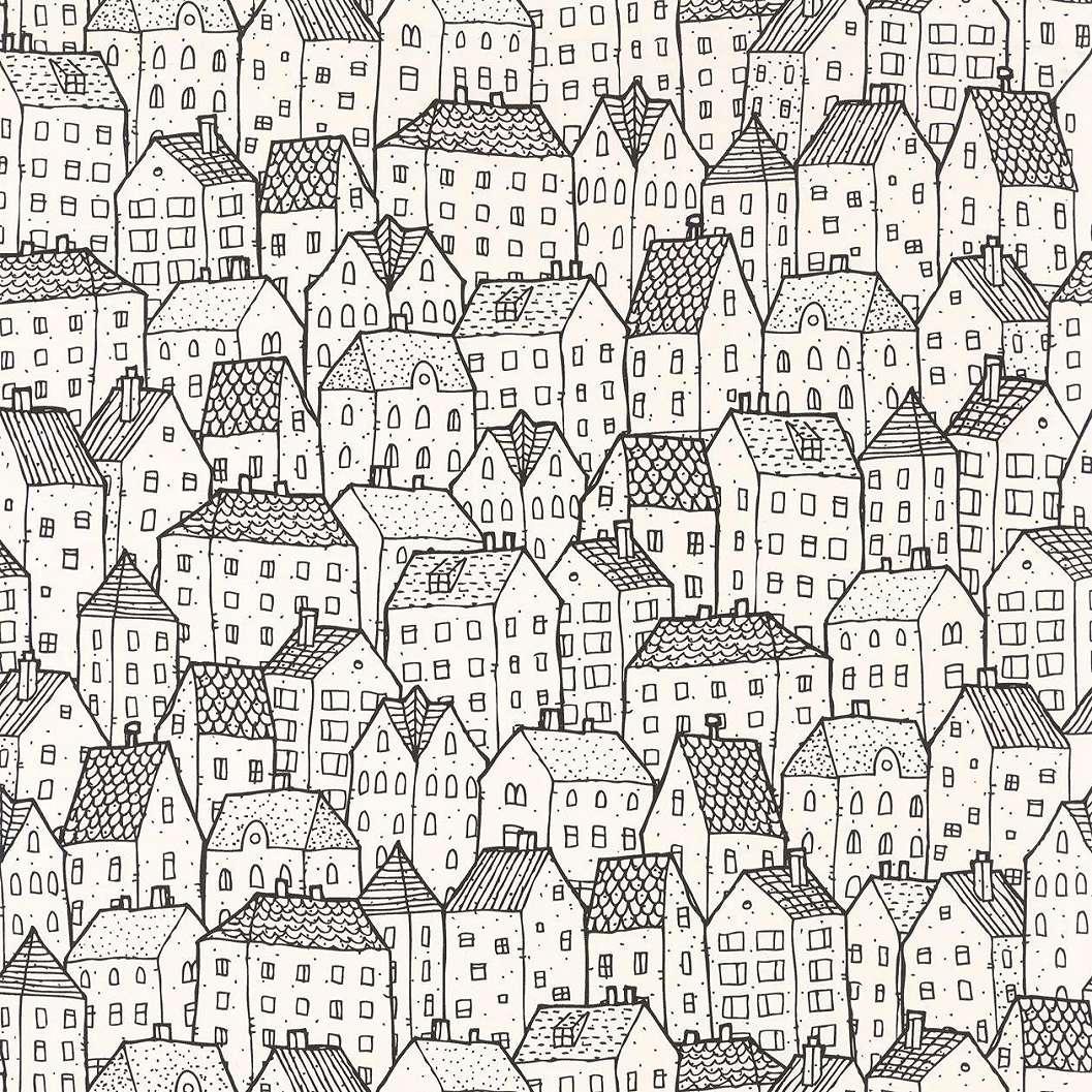 Modern fekete-fehér skandináv stílusú rajzolt ház mintás tapéta