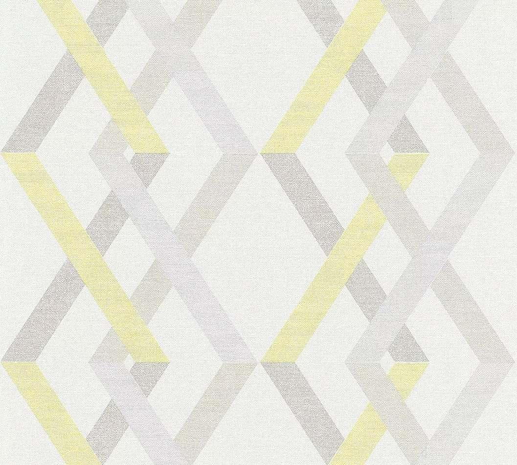 Modern geometrikus mintás tapéta szürke sárga csíkos mintával