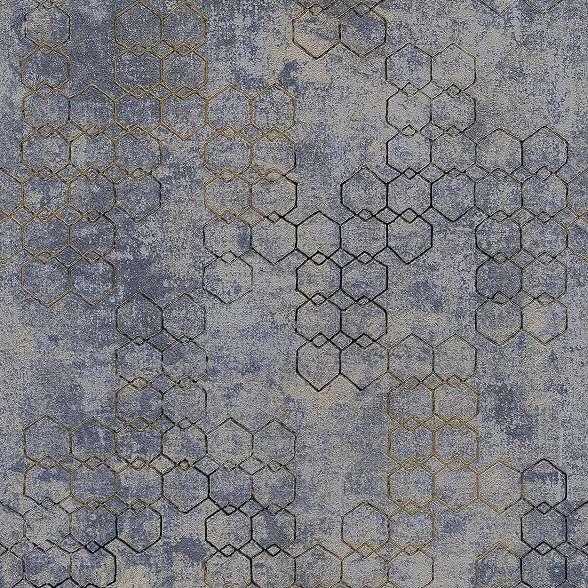 Modern geometrikus mintás vinyl tapéta szürke, kék színvilágban