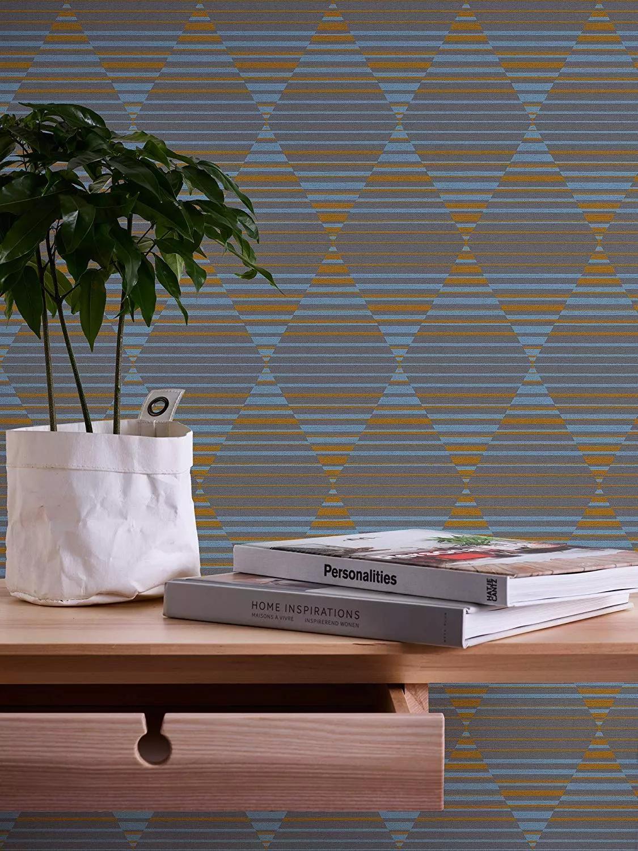 Modern geometrikus mintás vlies tapéta kék narancs, szürke színekkel