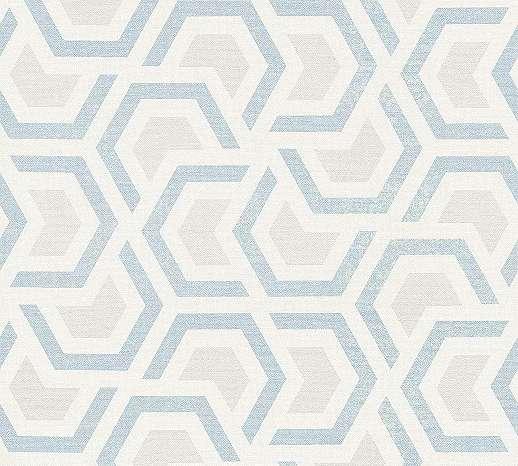 Modern geometrikus mintás vlies tapéta, szürke, kék, bézs mintával