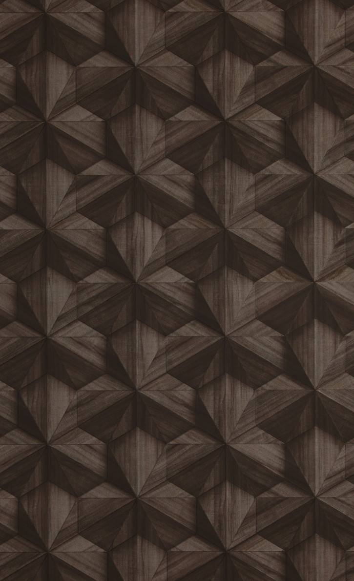 Modern geomtriai mintás tapéta sötét barna színben