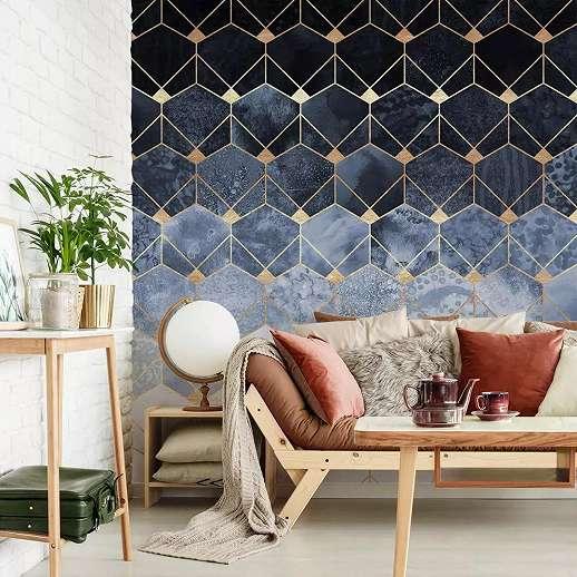 Modern hexagon geometrikus mintás fali poszter
