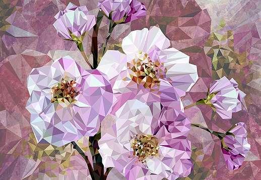 Modern kristályvirágok fali poszter