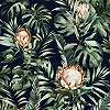 Modern pálmalevél mintás vlies tapéta narancs egzotikus virágmintával