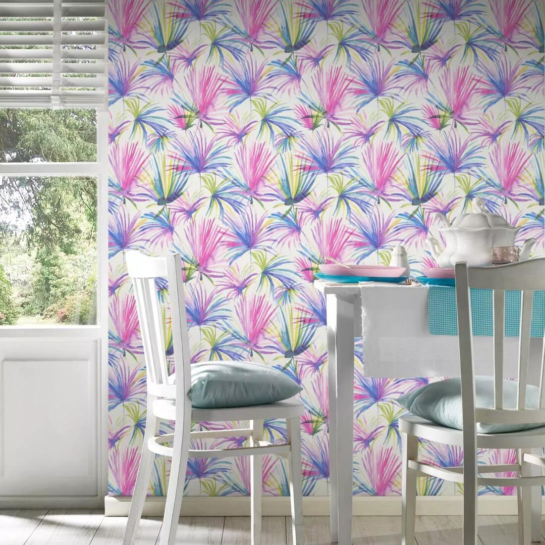 Modern sokszínű trópusi pálmalevél mintás tapéta