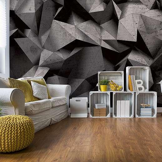 Modern sokszögek, 3D beton hatású fali poszter