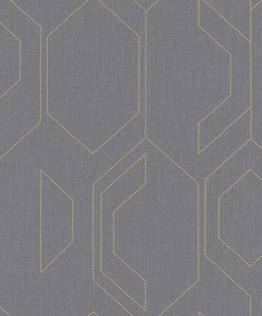 Modern, szürke alapon arany geometriai mintás tapéta