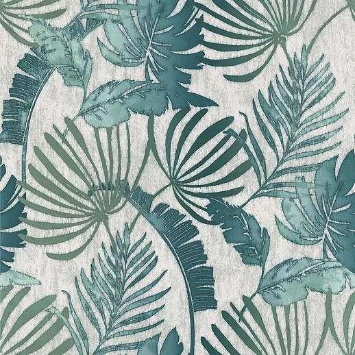 Modern szürke zöld vlies design tapéta botanikus mintával