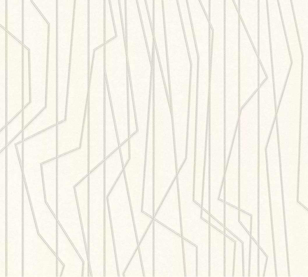 Modern tapéta fehér alapon szabálytalan szürke csíkos mintázattal