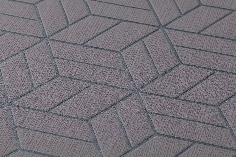 Modern tapéta szürke színben geometriai mintával habosított felülettel