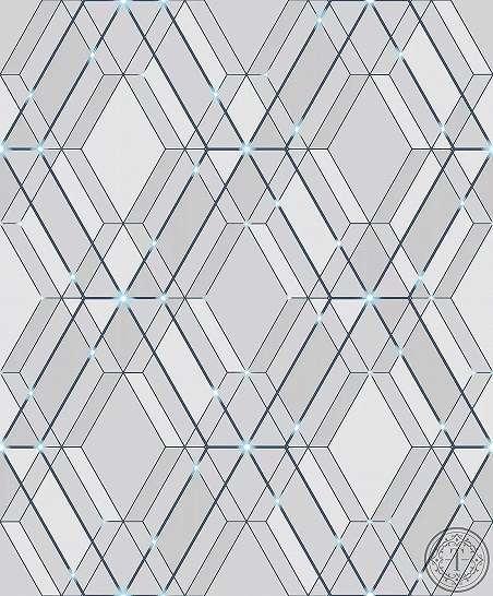 Modern tapéta tükröződő geometriai mintával kék színben