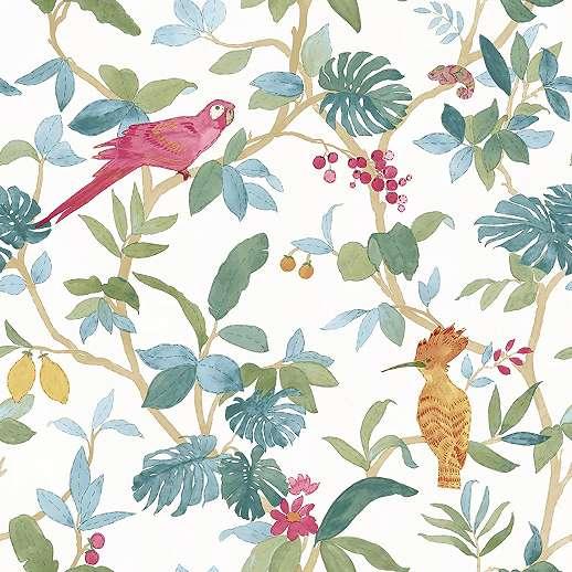Modern trópus pálma és papagáj mintás vlies design tapéta