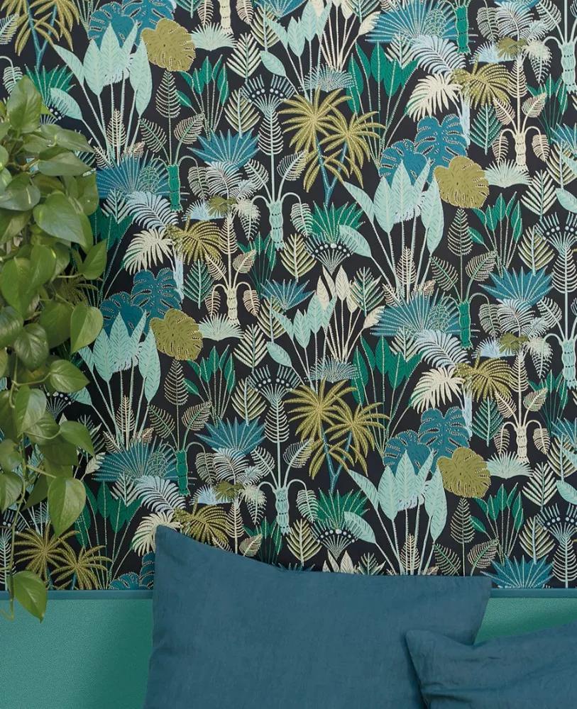 Modern trópusi dzsungel mintás vlies tapéta sötétkék zöld színvilágban