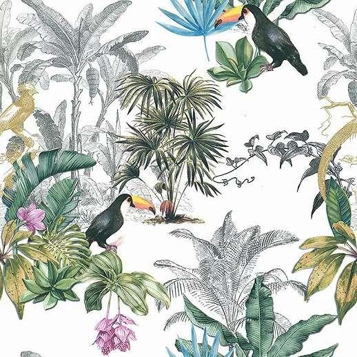 Modern trópusi hangulatú madár mintás vlies vinyl dekor tapéta