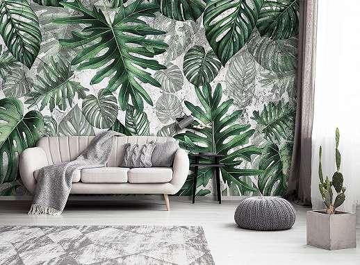 Modern trópusi hangulatú óriás pálmalevél mintás fali poszter