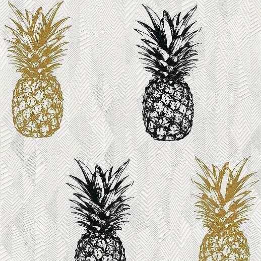 Modern vlies tapéta geometrikus alapon színes ananász mintával