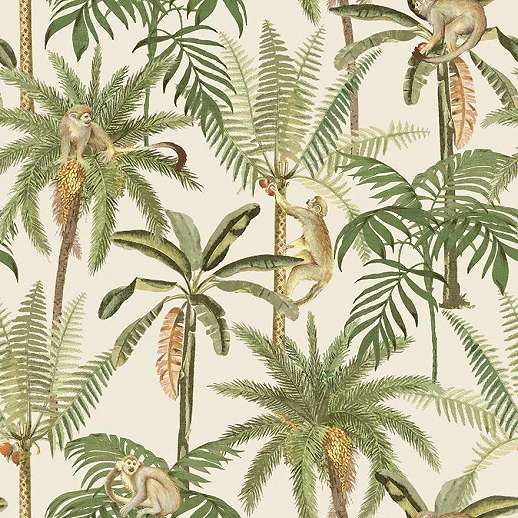 Modern vlies tapéta majom és pálmafa mintával krém alapon