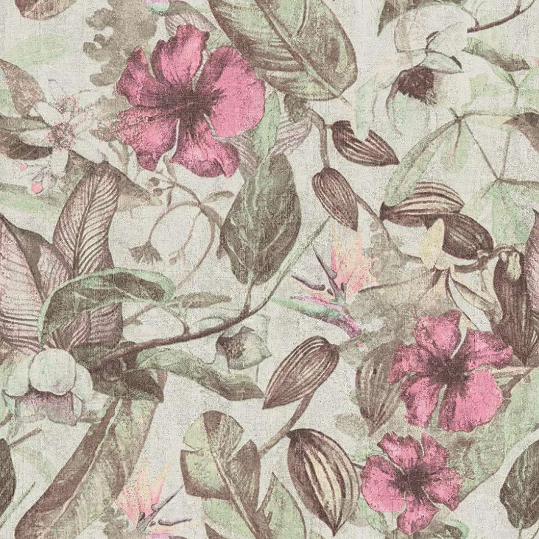 Mosható felületű tapéta modern trópusi levél és virág mintával