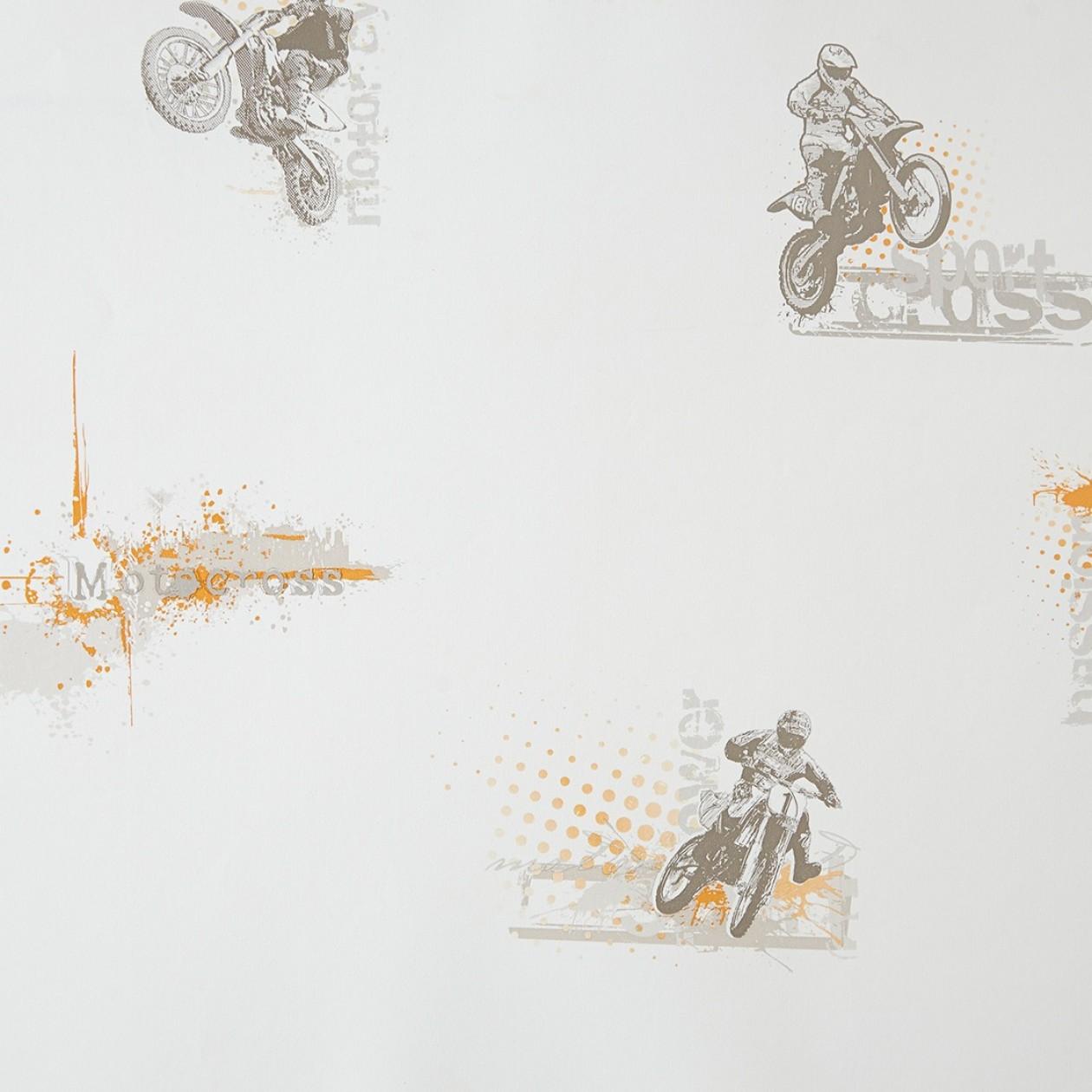 Motoros gyerek tapéta narancs felirattal