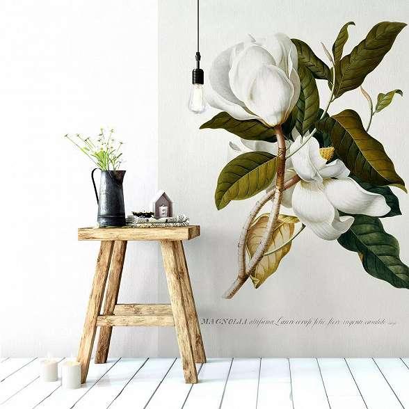 Művészi magnolia virágmintás vlies fali poszter